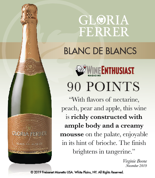 Gloria Ferrer Blanc de Blanc NV - Wine Enthusiast - 90 PTS - ShelfTalker