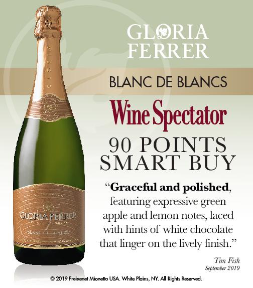 Gloria Ferrer Blanc de Blanc NV - Wine Spectator - 90 PTS - ShelfTalker