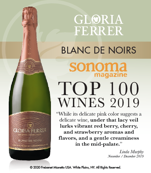 Gloria Ferrer Blanc de Noirs - Sonoma Magazine - TOP 100 Wines - ShelfTalker