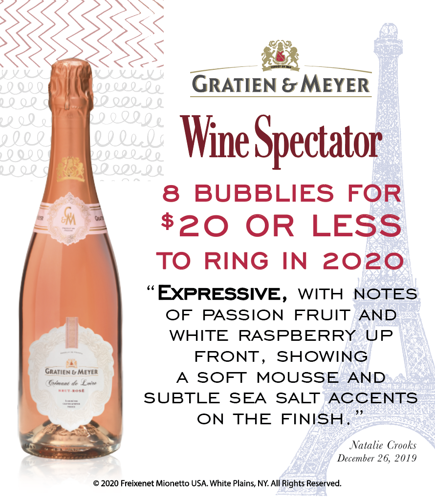 Gratien & Meyer Rose - Wine Spectator - 8 best bubblies - Shelftalker