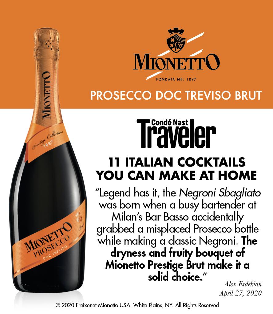 Mionetto Prosecco DOC Treviso Brut - Conde Nast Traveler - Shelftalker