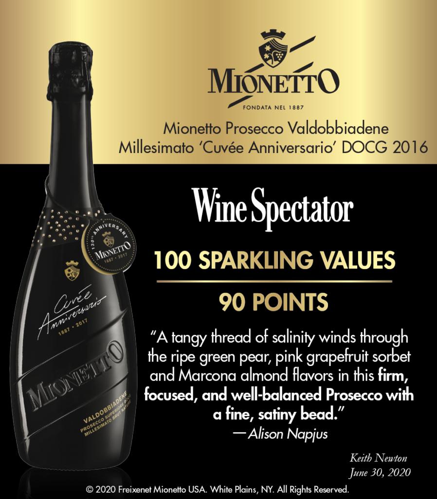 Mionetto Prosecco Valdobbiadene Millesimato 'Cuvée Anniversario' DOCG 2016 - 90 Pts - Wine Spectator Shelftalker
