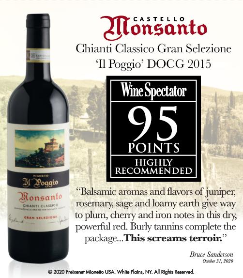Castello di Monsanto - CHIANTI CLASSICO 'IL POGGIO' 2015 - Wine Spectator - 95PTS - ShelfTalker