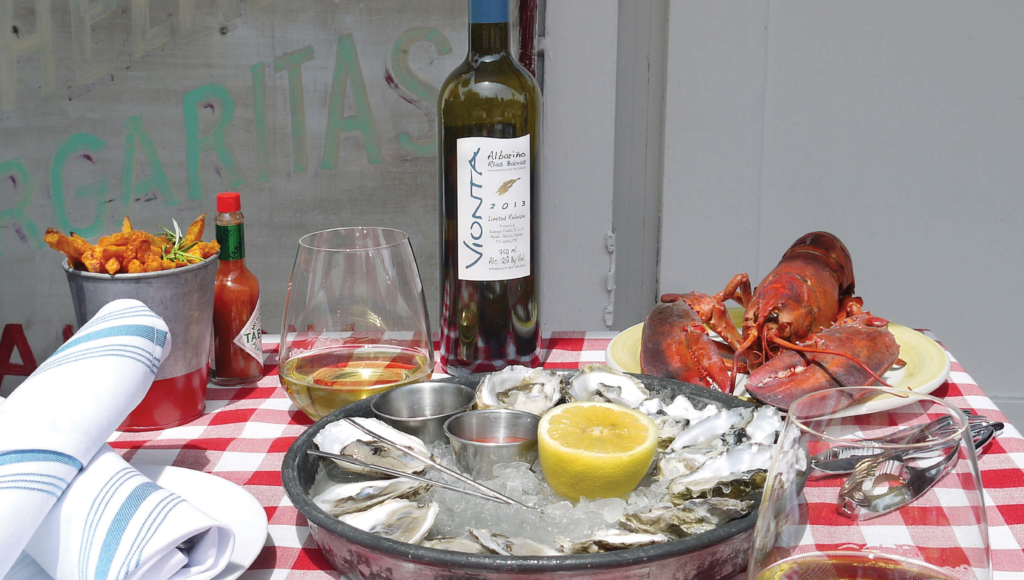 Ferrer Family wines Vointa with oysters and seafood